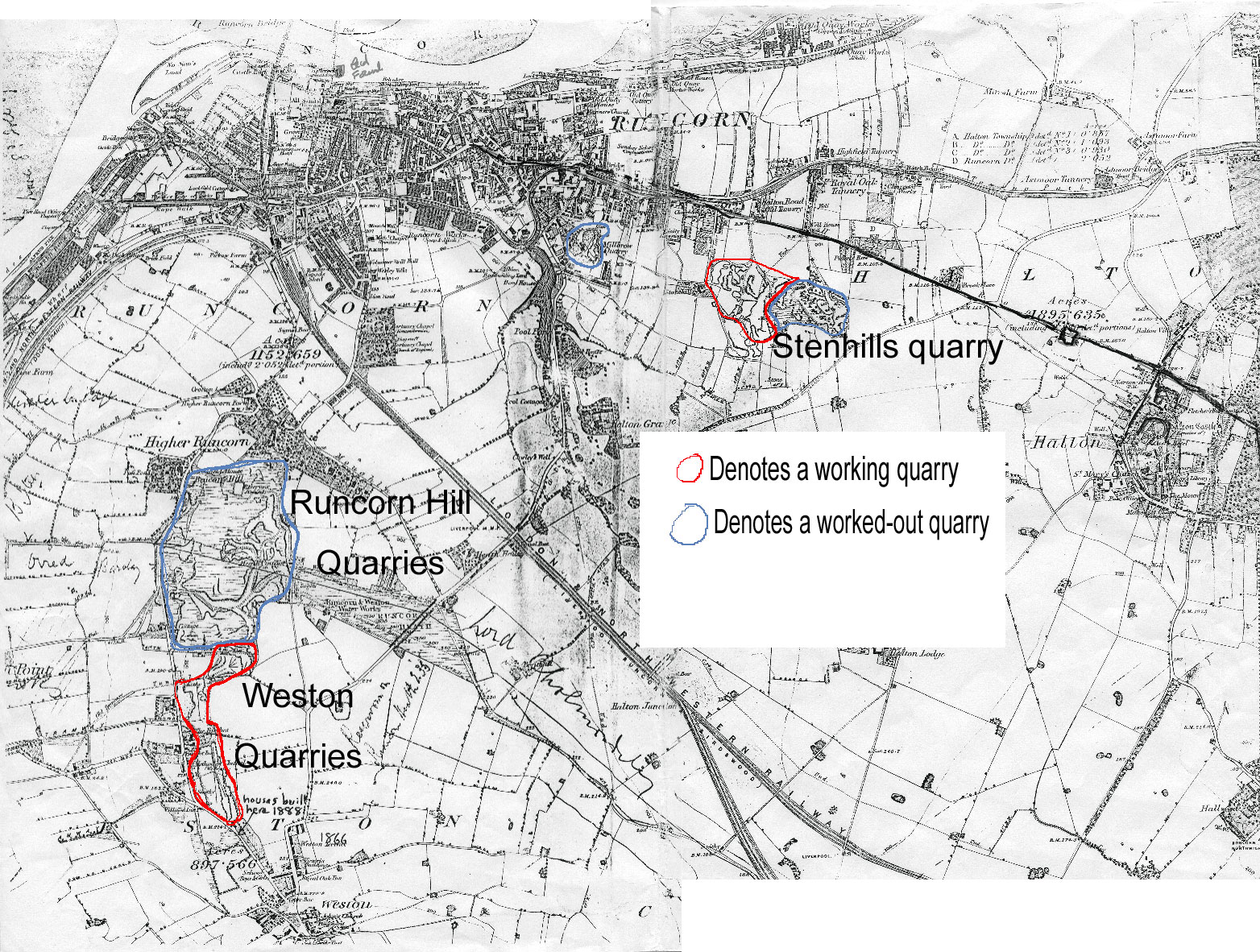A map of the old Quarries at Runcorn about 1870