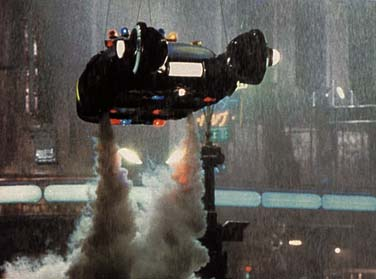 Above: With Gaff and Deckard aboard, the police spinner takes off and heads for Deckard's momentous meeting with his...